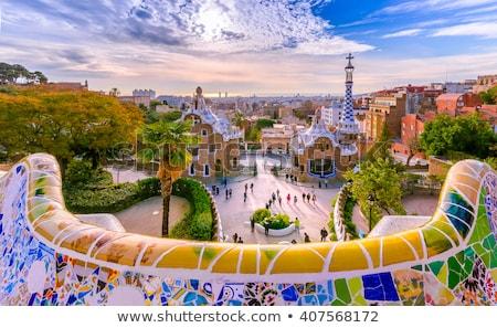 Parque Barcelona mosaico banco cityscape famoso Foto stock © neirfy