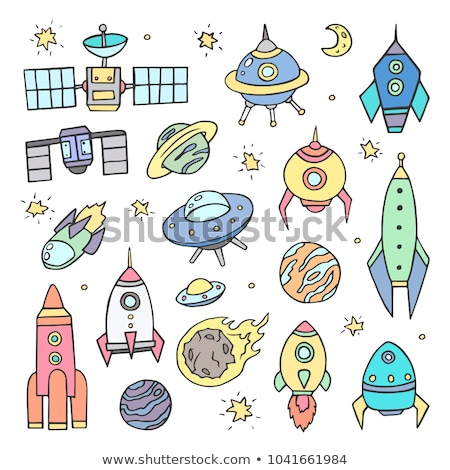 cartoon vector doodles space illustration colorful background stock photo © balabolka
