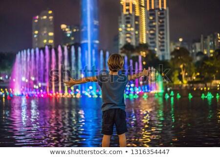 Jongen fontein meer avond tweeling Stockfoto © galitskaya