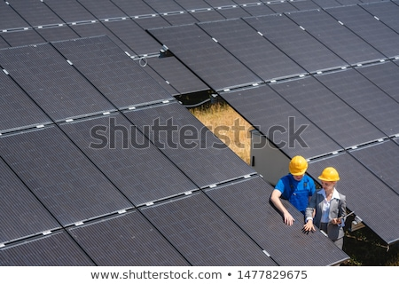 Two people standing amid solar cells in a power plant Stock photo © Kzenon