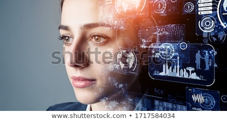 Artificial virtual reality facial recognition Stock photo © frimufilms