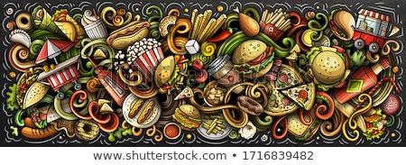болван · вектора · барбекю · рисованной · Элементы · колбаса - Сток-фото © balabolka