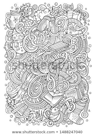 cartoon · nieuwjaar · illustratie · contour · christmas - stockfoto © balabolka