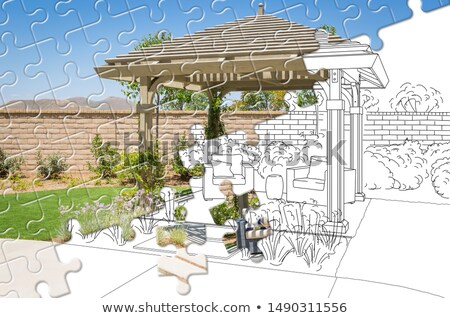 Kirakó darabok együtt befejezett épít rajz ház Stock fotó © feverpitch