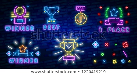 Gunning neon label sport promotie fitness Stockfoto © Anna_leni
