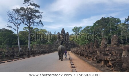 éléphant porte angkor géant visages Cambodge Photo stock © lichtmeister