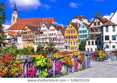 Utca Németország történelmi házak ház otthon Stock fotó © borisb17