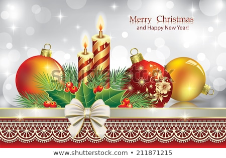 merry christmas card template with romantic candle stock photo © orson