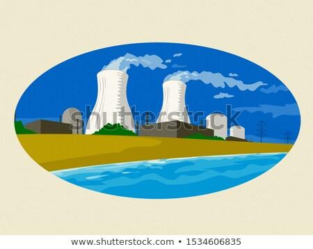 Nuclear Power Plant Smoke Stack Oval Retro Stock photo © patrimonio