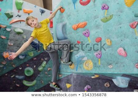 Cute młodzik patrząc mały wspinaczki Zdjęcia stock © pressmaster