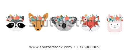 vector cartoon set illustration cat, deer, dog and koala.  Stock photo © Margolana