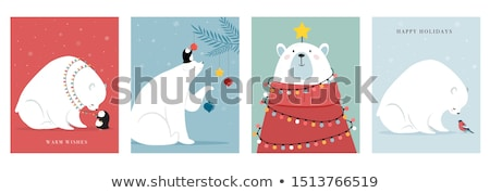 christmas card with polar bear and gift boxes stock photo © balasoiu