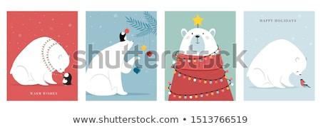 Urso polar caixas de presente projeto vetor floresta Foto stock © balasoiu