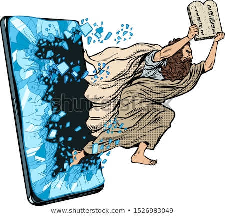 Moses the prophet with the tablets of commandments. Christian online news concept Stock photo © studiostoks