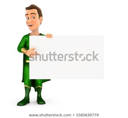 3D zielone bohater wskazując pusty pokładzie Zdjęcia stock © 3dmask