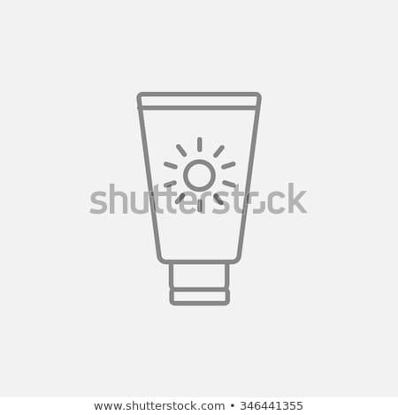 Napozókrém ikon vektor skicc illusztráció felirat Stock fotó © pikepicture