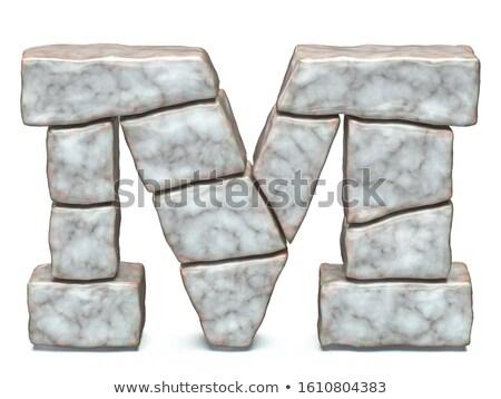 Rock kamieniarstwo chrzcielnica list m 3D 3d Zdjęcia stock © djmilic