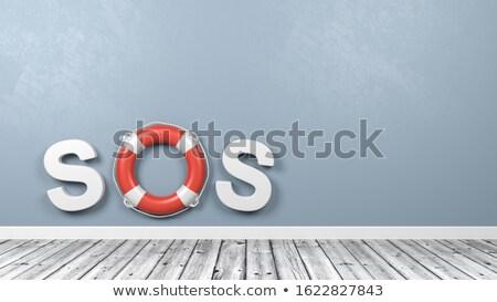 СОС текста стены 3d иллюстрации синий Сток-фото © make