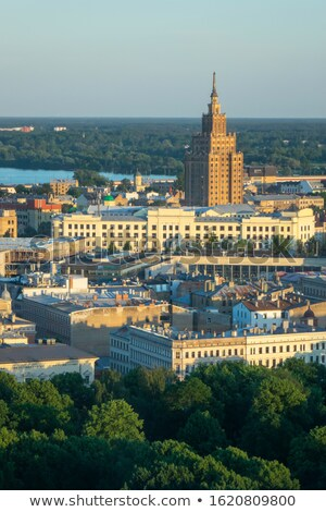 Historical part of Riga Latvia and Academy of Sciences. Stock photo © artjazz