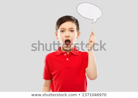 shocked boy in red t-shirt with speech bubble Stock photo © dolgachov
