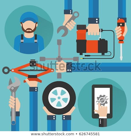 Mecânico chave de fenda carro pneu serviço reparar Foto stock © dolgachov