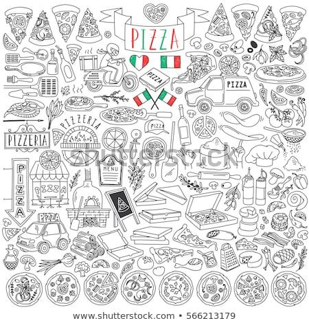 Pizzeria web ikony użytkownik interfejs projektu Zdjęcia stock © ayaxmr