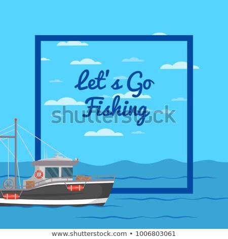 Halászhajók oldalnézet kereskedelmi halászat ipari tengeri hal Stock fotó © designer_things