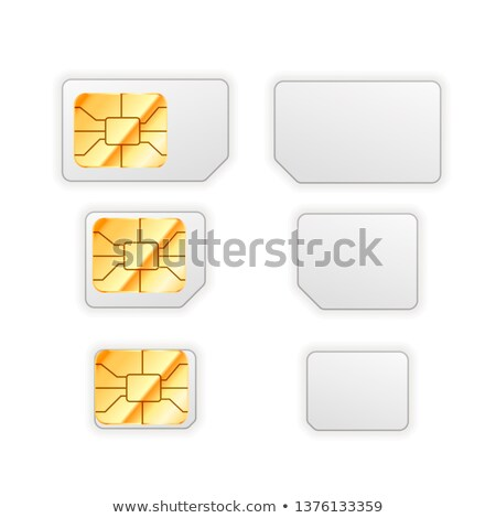 Set of blank standard, micro and nano sim cards for phone with golden glossy chip from both sides in Stock photo © evgeny89