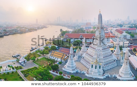 Tempel Bangkok panoramisch luchtfoto mooie zonsondergang Stockfoto © bloodua