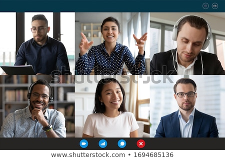 Online videó konferencia megbeszélés hívás webinar Stock fotó © AndreyPopov
