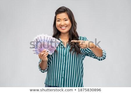 ázsiai nő száz Euro pénz bankjegyek Stock fotó © dolgachov