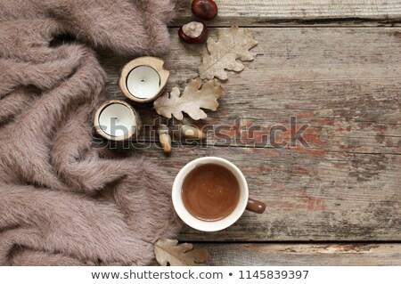 hot chocolate, autumn leaves, acorns and chestnut Stock photo © dolgachov