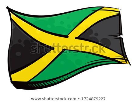 Painted Jamaica Flag Waving In Wind Stok fotoğraf © Oxygen64