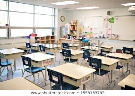 Vazio sala de aula cadeira conselho porta janela Foto stock © cozyta