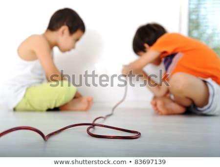 Gefährlich Spiel Kinder Strom Haus Wand Stock foto © zurijeta