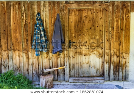 ax on chopping block wood in background 2 Stock photo © 808isgreat