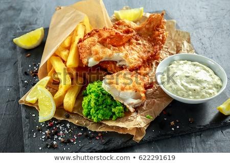 Sültkrumpli burgonyaszirom tál kívül étel háttér Stock fotó © leeser
