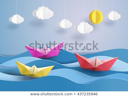 Origami hajó illusztráció elszigeteltség fehér iroda Stock fotó © X-etra
