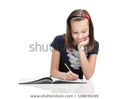 portret · jong · meisje · school · shot · vergadering - stockfoto © HASLOO