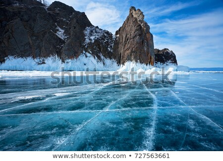 Icy Rocks by a Lake in Winter Stock photo © brianguest