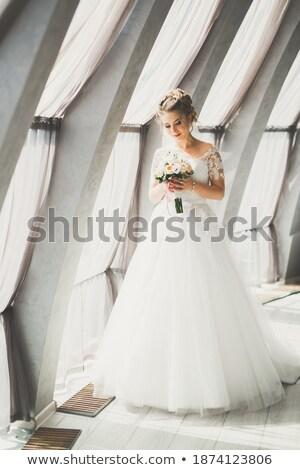 портрет Lady красивой букет пляж лет Сток-фото © vichie81