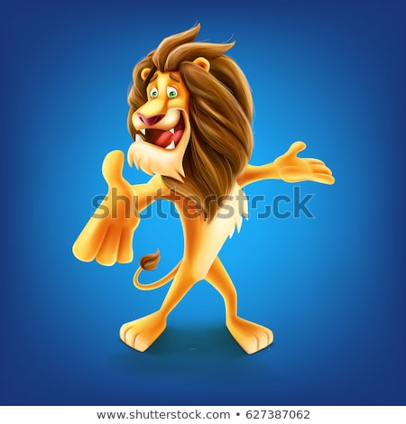 Smiling Cartoon Lion Mascot Vector Graphic Stock photo © chromaco