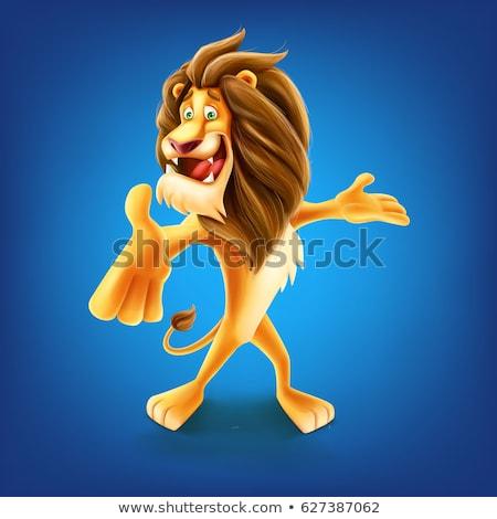 Smiling Cartoon Lion Mascot Vector Graphic stock photo © chromaco