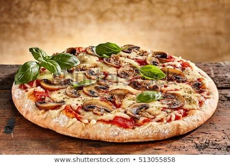 pizza · jambon · mantar · domates · tablo · pişirme - stok fotoğraf © ozaiachin