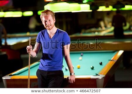 Stok fotoğraf: Bilardo · kazanan · yakışıklı · adam · oynama · kulüp