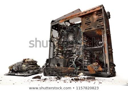 Computer brandend man telefoon bereiken hotline Stockfoto © smithore