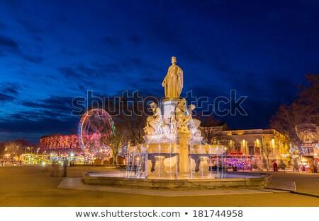 roussillon at night provence france stock photo © phbcz