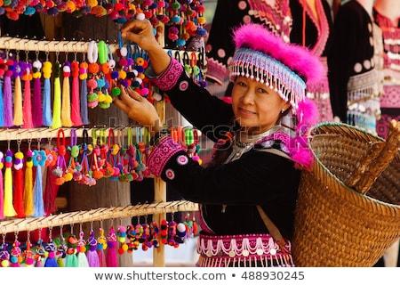 Zdjęcia stock: Plemię · ubrania · tradycyjny · Tajlandia · tekstury · projektu