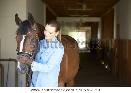 Stockfoto: Young Woman Taking Care Of Her Horse