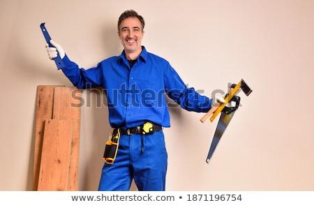 笑みを浮かべて · 男 · 階 · 作業 · ホーム · 業界 - ストックフォト © photography33